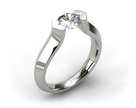 18k White Gold Heart Shaped Tension Set Engagement Ring